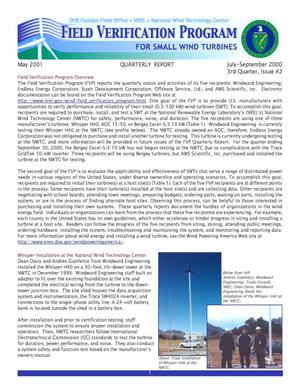 Primary view of object titled 'Field Verification Program for Small Wind Turbines, Quarterly Report: 3rd Quarter, Issue No.2, July-September 2000'.
