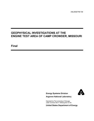 Primary view of object titled 'Geophysical investigations at the engine test area of Camp Crowder, Missouri.'.