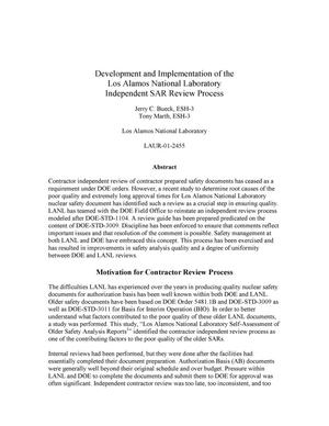 Primary view of object titled 'DEVELOPMENT AND IMPLEMENTATION OF THE LOS ALAMOS NATIONAL LABORATORY INDEPENDENT SAR REVIEW PROCESS.'.