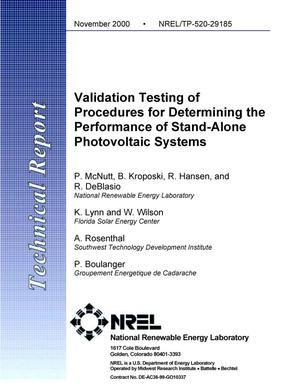 Primary view of object titled 'Validation Testing of Procedures for Determining the Performance of Stand-Alone Photovoltaic Systems'.