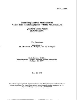 Primary view of object titled 'Monitoring and Data Analysis for the Vadose Zone Monitoring System (VZMS), McClellan AFB. Quarterly Status Report (2/20/98 - 5/20/98)'.