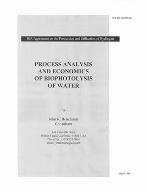 Primary view of object titled 'Process analysis and economics of biophotolysis of water. IEA technical report from the IEA Agreement on the Production and Utilization of Hydrogen'.