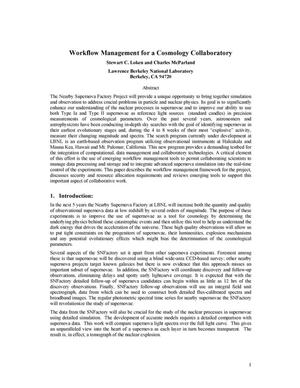 Primary view of object titled 'Workflow management for a cosmology collaboratory'.