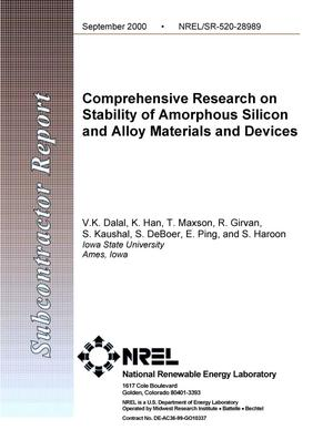 Primary view of object titled 'Comprehensive Research on Stability of Amorphous Silicon and Alloy Materials and Devices'.