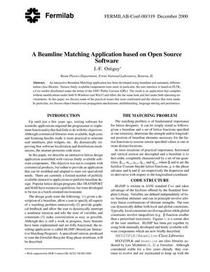 Primary view of object titled 'A beamline matching application based on open source software'.