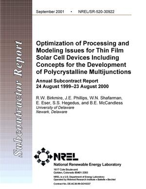 Primary view of object titled 'Optimization of Processing and Modeling Issues for Thin Film Solar Cell Devices Including Concepts for the Development of Polycrystalline Multijunctions Annual Subcontract Report, 24 August 1999 - 23 August 2000'.