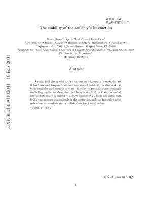 Primary view of object titled 'The stability of the scalar {chi}{sup 2}{phi} interaction'.