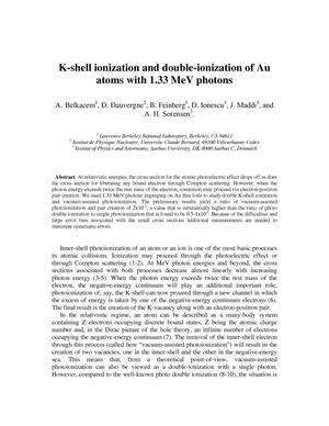 Primary view of object titled 'K-shell ionization and double-ionization of Au atoms with 1.33 MeV photons'.