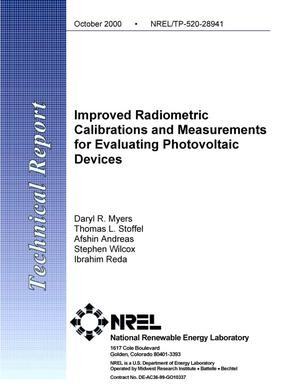 Primary view of object titled 'Improved Radiometric Calibrations and Measurements for Evaluating Photovoltaic Devices'.