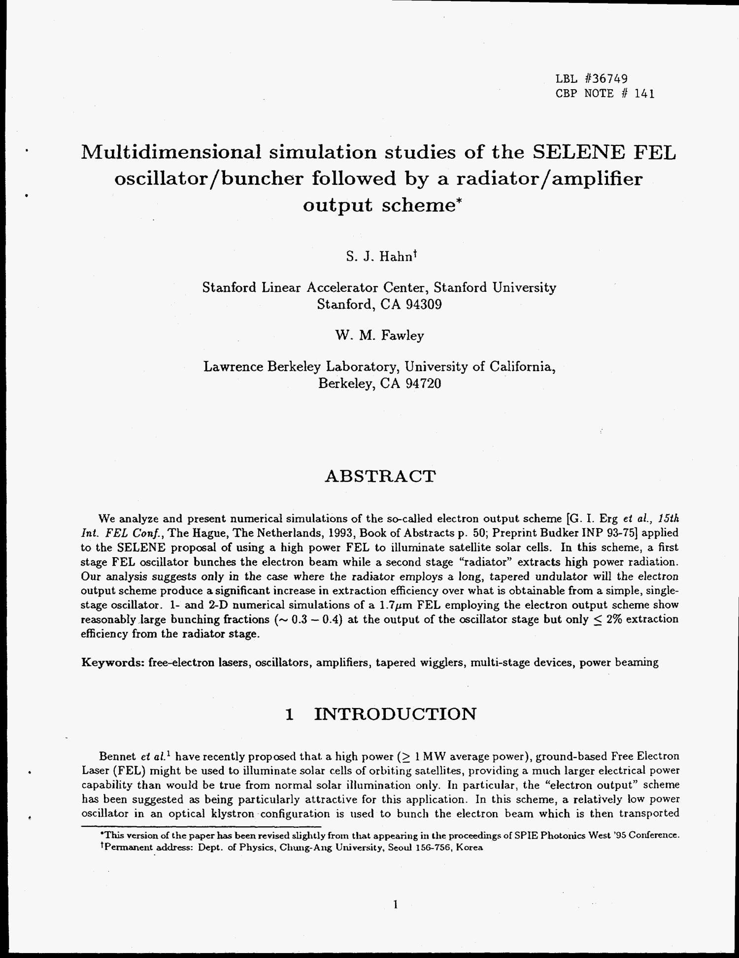 Multidimensional simulation studies of the SELENE FEL oscillator/buncher followed by a radiator/amplifier output scheme                                                                                                      [Sequence #]: 4 of 12