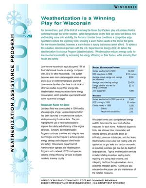 Primary view of object titled 'Weatherization is a Winning Play for Wisconsin: Weatherization Assistance Close-Up Fact Sheet'.