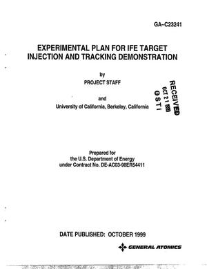 Primary view of object titled 'Experimental Plan for IFE Target Injection and Tracking Demonstration[Inertial Fusion Energy]'.