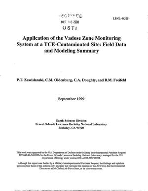 Primary view of object titled 'Application of the vadose zone monitoring system at a TCE-contaminated site: Field data and modeling summary'.