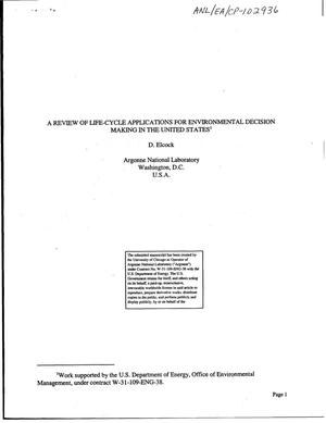 Primary view of object titled 'A review of life-cycle applications for environmental decision making in the United States.'.