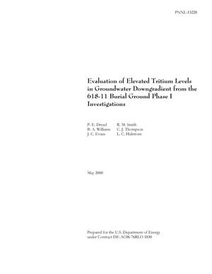 Primary view of object titled 'Evaluation of Elevated Tritium Levels in Groundwater Downgradient from the 618-11 Burial Ground Phase I Investigations'.