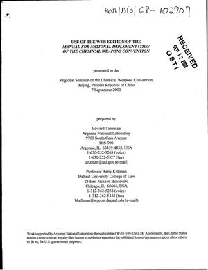 Primary view of object titled 'Use of the web edition of the manual for national implementation of the chemical weapons convention.'.