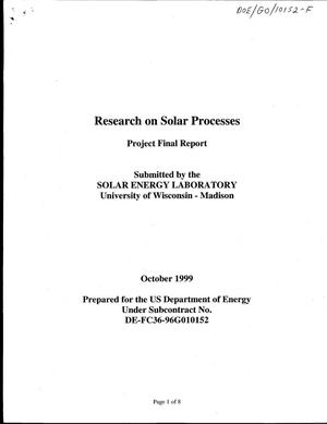 Primary view of object titled 'Research on solar processes. Project final report'.