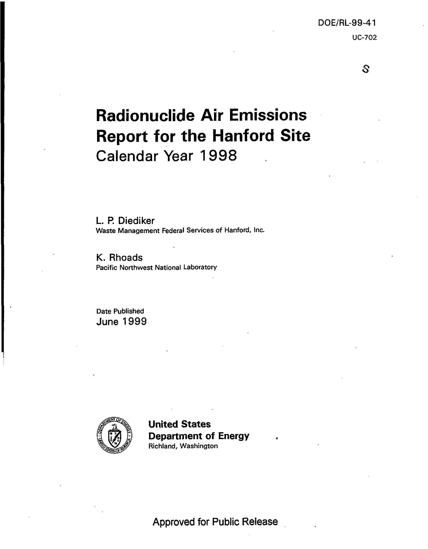 Radionuclide Air Emissions Report for the Hanford Site Calendar year 1998                                                                                                      [Sequence #]: 5 of 144