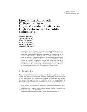 Primary view of object titled 'Integrating automatic differentiation with object-oriented toolkits for high-performance scientific computing.'.