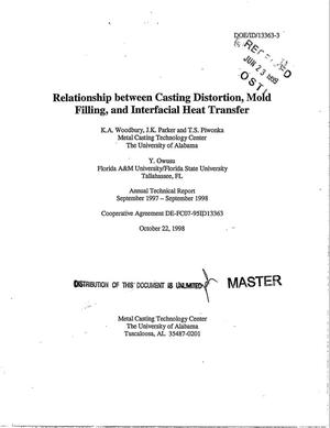 Primary view of object titled 'Relationship between casting distortion, mold filling, and interfacial heat transfer. Annual technical report, September 1997 - September 1998'.