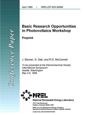 Primary view of object titled 'Basic Research Opportunities in Photovoltaics Workshop: Preprint'.