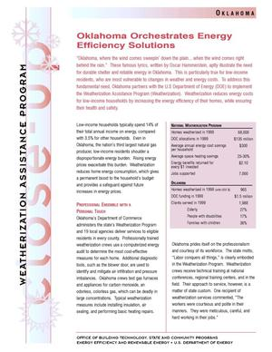 Primary view of object titled 'Oklahoma Orchestrates Energy Efficiency Solutions: Weatherization Assistance Close-Up Fact Sheet'.