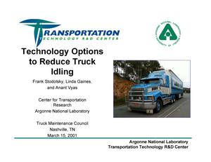 Primary view of object titled 'Technology Options to Reduce Truck Idling'.