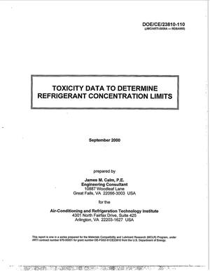 Primary view of object titled 'Toxicity Data to Determine Refrigerant Concentration Limits'.