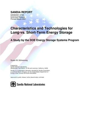 Primary view of object titled 'Characteristics and Technologies for Long- vs. Short-Term Energy Storage: A Study by the DOE Energy Storage Systems Program'.
