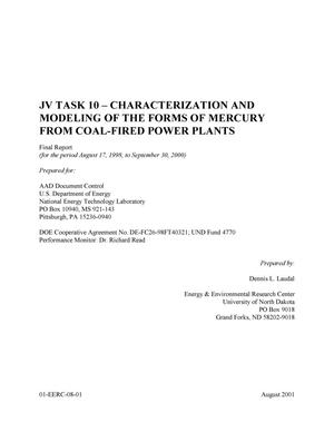 Primary view of object titled 'CHARACTERIZATION AND MODELING OF THE FORMS OF MERCURY FROM COAL-FIRED POWER PLANTS'.