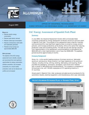 Primary view of object titled 'IAC Energy Assessment of Spanish Fork Plant: Office of Industrial Technologies (OIT) Aluminum BestPractices Assessment Case Study'.