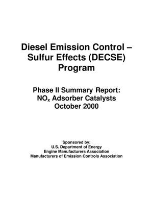 Primary view of object titled 'Diesel Emission Control-- Sulfur Effects (DECSE) Program-- Phase II Summary Report: NOx Adsorber Catalysts'.