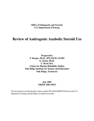 Primary view of object titled 'Review of Androgenic Anabolic Steroid Use'.