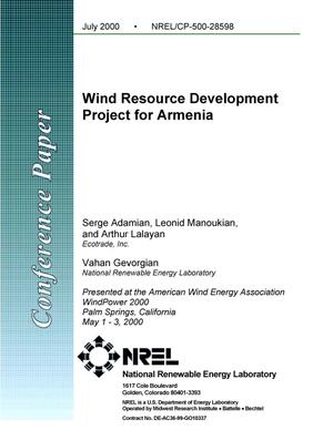Primary view of object titled 'Wind Resource Development Project for Armenia'.