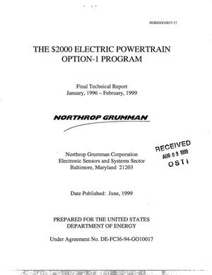 Primary view of object titled 'The $2000 Electric Powertrain Option-1 Program. Final technical report'.