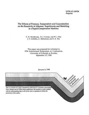 Primary view of object titled 'The effects of pressure, temperature and concentration on the reactivity of alkanes; experiments and modeling in a rapid compression machine'.