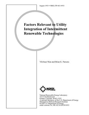 Primary view of object titled 'Factors Relevant to Utility Integration of Intermittent Renewable Technologies'.