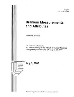 Primary view of object titled 'Uranium Measurements and Attributes'.