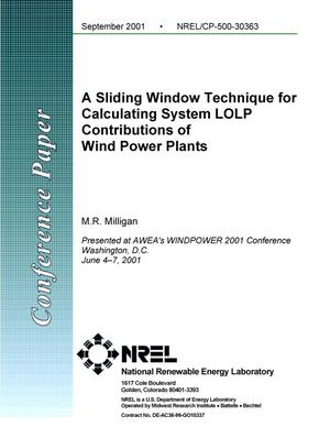 Primary view of object titled 'Sliding Window Technique for Calculating System LOLP Contributions of Wind Power Plants'.