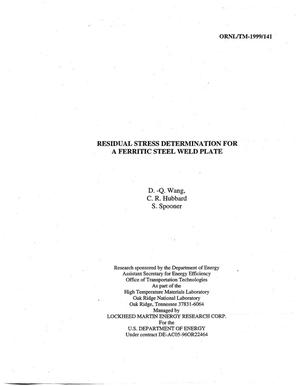 Primary view of object titled 'Residual Stress Determination for A Ferritic Steel Weld Plate'.