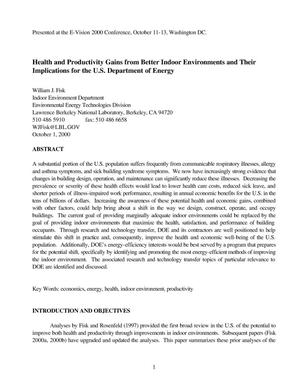 Primary view of object titled 'Health and productivity gains from better indoor environments and their implications for the U.S. Department of Energy'.