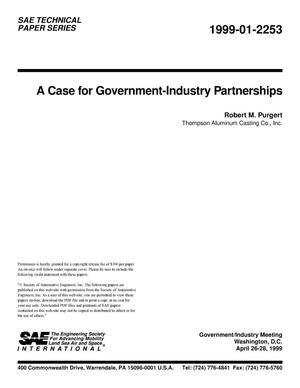 Primary view of object titled 'A Case for Government-Industry Partnerships'.