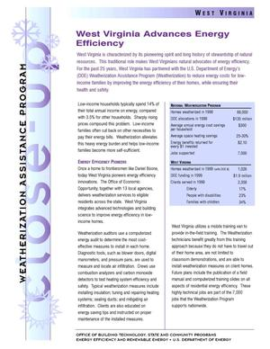 Primary view of object titled 'West Virginia Advances Energy Efficiency: Weatherization Assistance Close-Up Fact Sheet'.