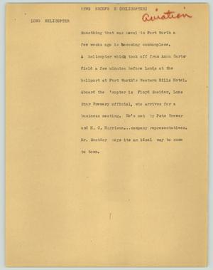 Primary view of object titled '[News Script: News briefs (helicopter)]'.