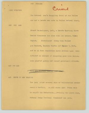 Primary view of object titled '[News Script: Gun runners]'.