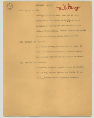 Primary view of object titled '[News Script: Randolph AFB]'.