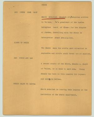 Primary view of object titled '[News Script: Sheik]'.