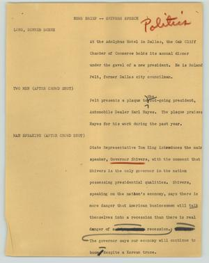Primary view of object titled '[News Script: News brief -- Shivers speech]'.