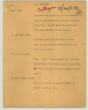Primary view of object titled '[News Script: SMU homecoming]'.