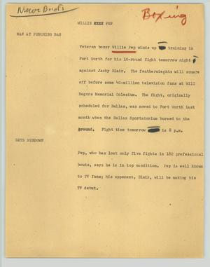 Primary view of object titled '[News Script: Willie Pep (boxing)]'.